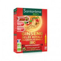 Santarome Bio Ginseng Gelée Royale Guarana Acérola Solution Buvable 20 Ampoules/10ml à Libourne
