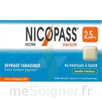 NICOPASS MENTHE FRAICHEUR 2,5 mg SANS SUCRE, pastille édulcorée à l'aspartam et à l'acésulfame potassique à Libourne